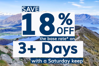 Save 18% off the base rate on 3+ days with a Saturday Keep*