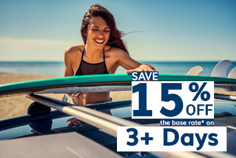 Save 15% Off 3+ Day Rentals