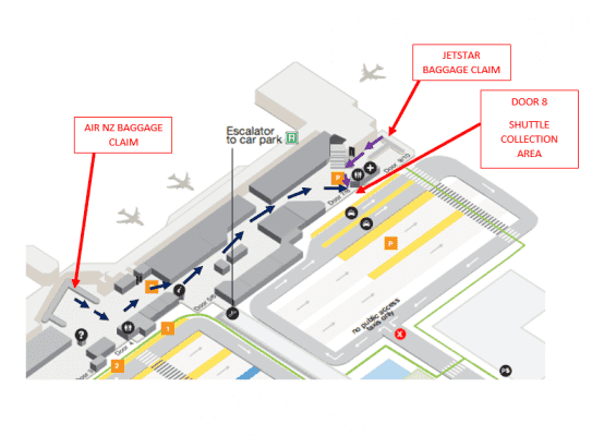 Auckland airport shuttle domestic pickup