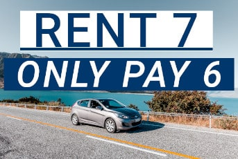 Get 1 free Day when renting for 7 days and only pay for 6