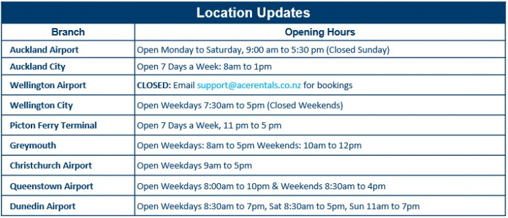 Ace Rental Cars New Zealand Level 1 Location Operating Hours 9 June 2020